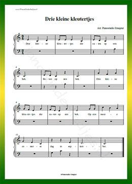 Beroemd Pianokinderliedjes | Drie kleine kleutertjes | bladmuziek met teksten &RD21